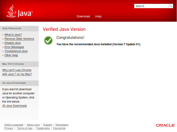 Veryfing Java version