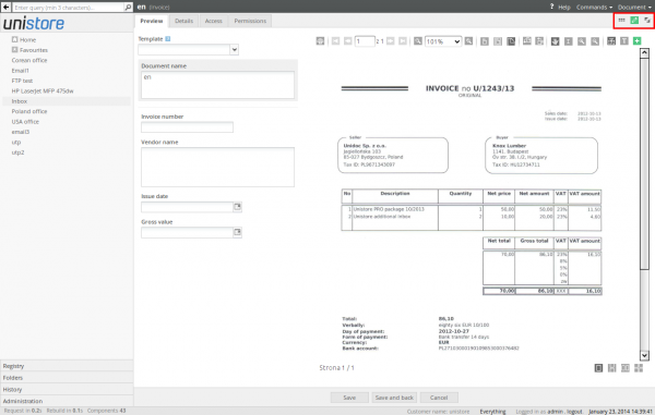 Document form filling mode after setting the category