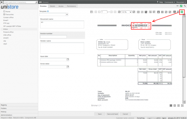 Adding area to the scanned document preview
