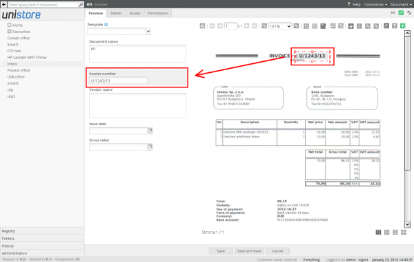 Inserting text from scanned document area to active form field